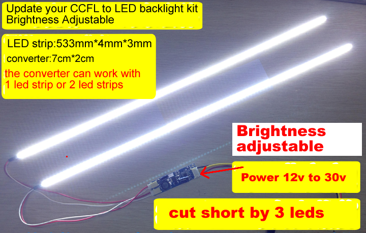 533mm LED Backlight KIT adjustable brightness for 23.6inch update ccfl to led