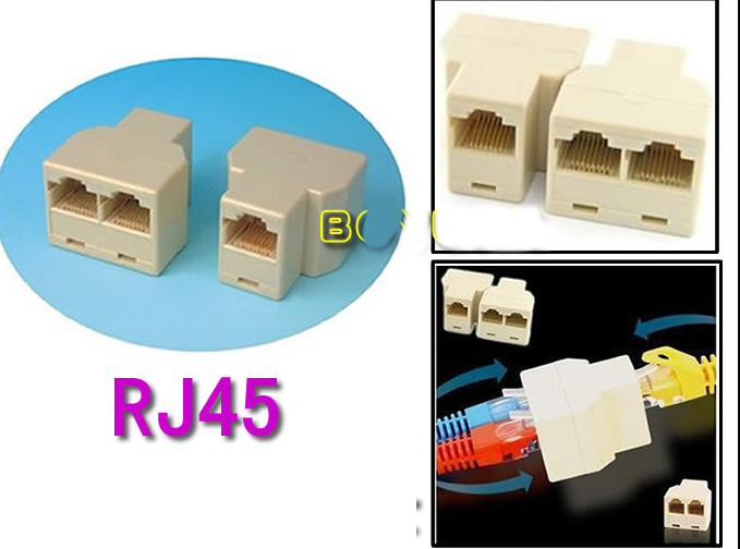 8P8C RJ45 Coupler Adapter Connector Ethernet Splitter 1 to 2
