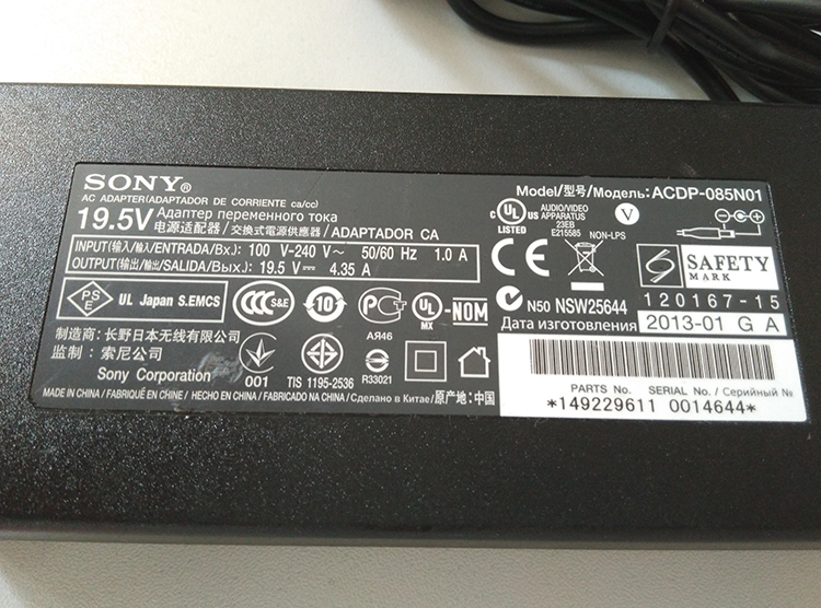 ACDP-085E01 sony new original ac adapter 19.5V4.35A