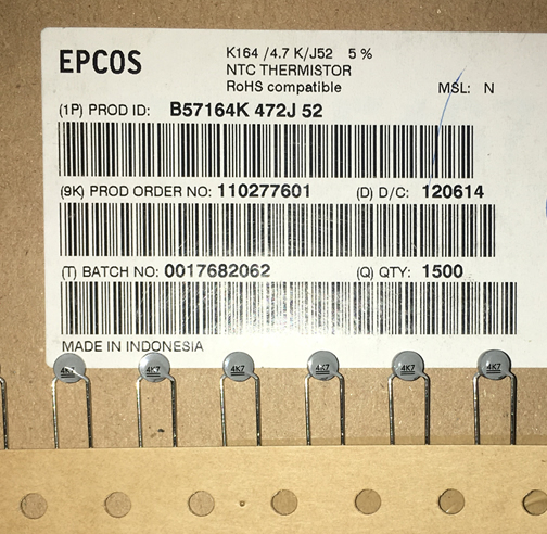 EPCOS B57164K472J52 4.7K 4700ohs 5% 5pcs/lot