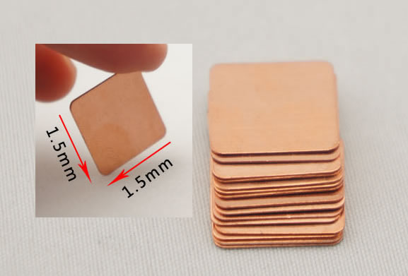 Heatsink Copper Pad Shim 0.1mm 0.3mm 0.5mm 0.8mm 1.0mm 1.2mm 1.5mm 1.8mm 2.0mm 10pcs/lot