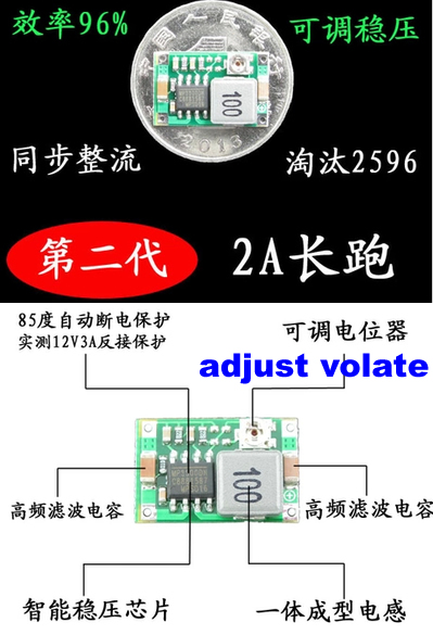4.75V-23V to 1.0V-17V 1.8A 17*11*3.8mm SMALLEST DC DC Mini360