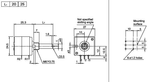 alps 27mm metal shaft type rk271 series 250ka audio high