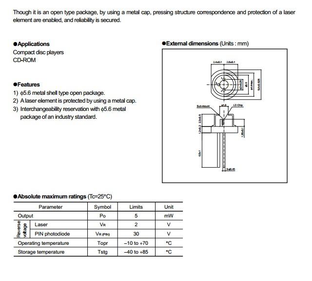 Rohm 780nm Laser Diode 5mw Rld78myr1 56mm Laser Diode Ccfl