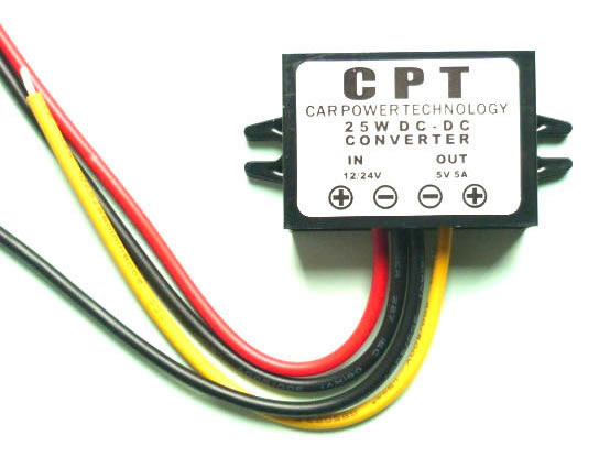 12V to 5V, 24V to 5V DC-DC converter 5A 25W for Car power