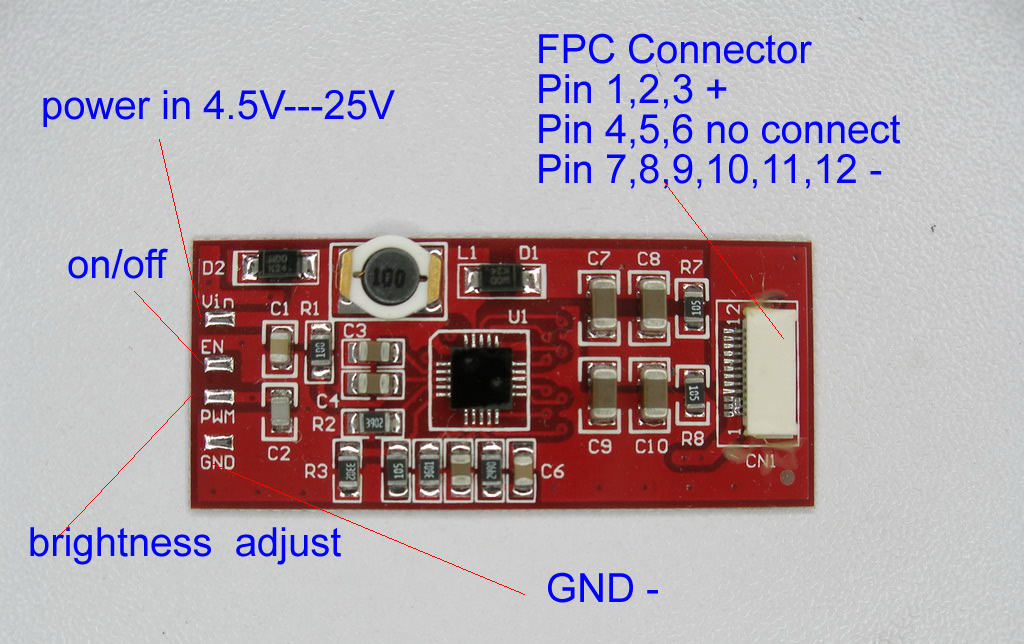 Notebook LED converter board for 8in to 22in 42mm*18mm