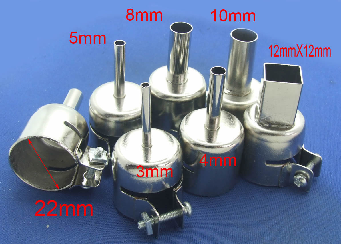 6PCS nozzle Φ3mm 4mm 5mm 8mm 10mm 12mm X 12mm for Soldering station 852 850 Hot Air Gun